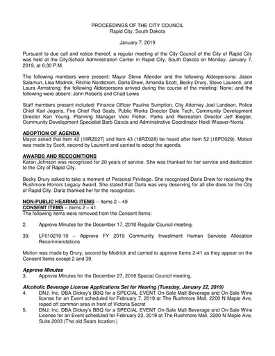 2019 01 07 City Council Minutes