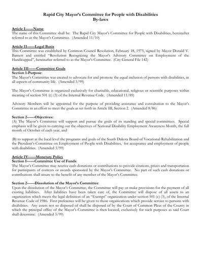 Mayor's Committee Bylaws