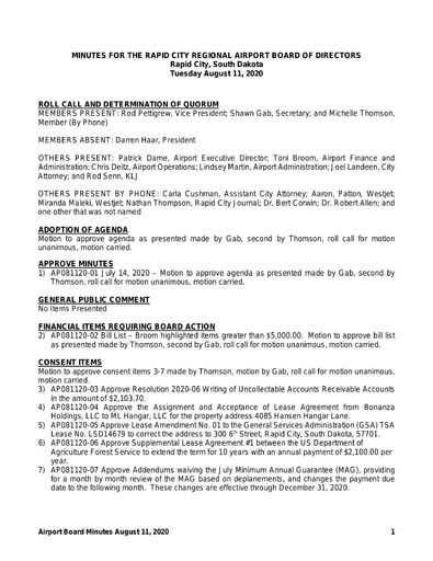 20200811 Airport Board Minutes