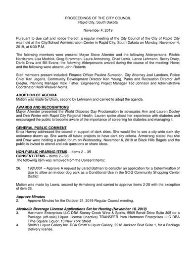 2019 11 04 City Council Minutes