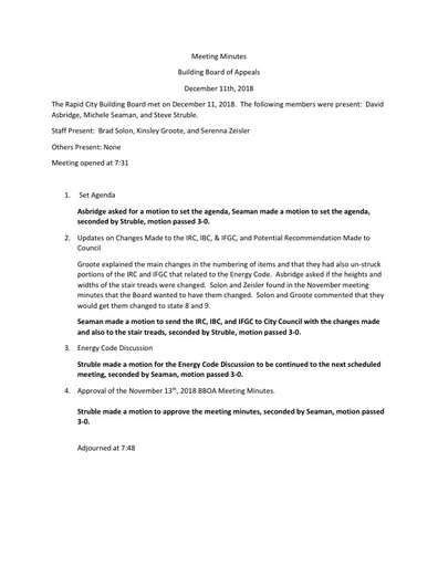 2018 12 11 Building Board Meeting Minutes