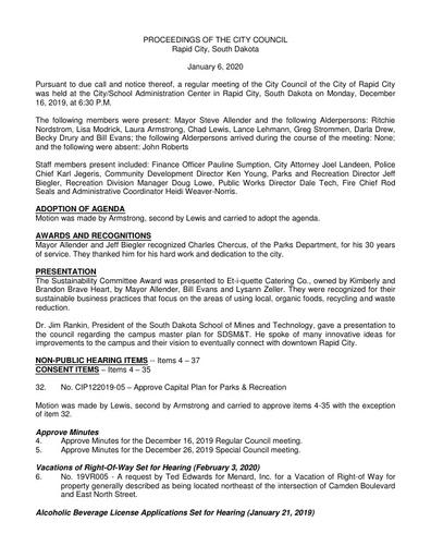 2020 01 06 City Council Minutes