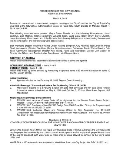 2019 03 04 City Council Minutes