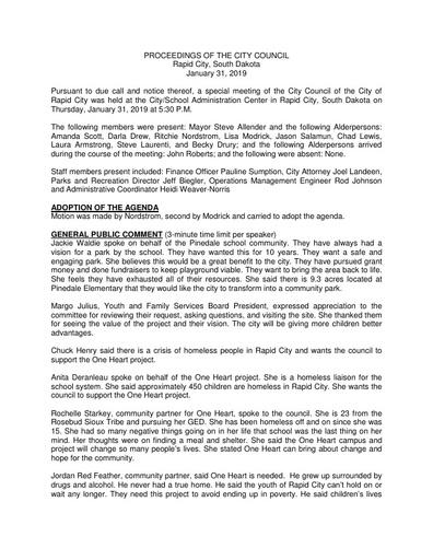 2019 01 31 Special Council Minutes