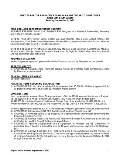 20200908 Airport Board Minutes