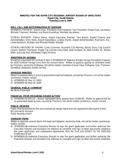 20200609 Airport Board Minutes