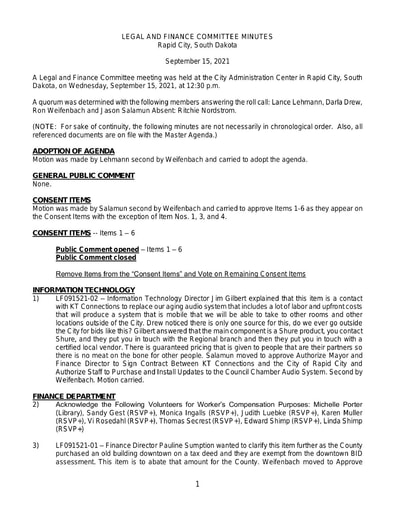 09/15/2021 Legal and Finance Committee Meeting