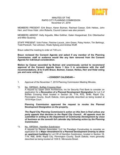 2019 11 21 Planning Commission Minutes