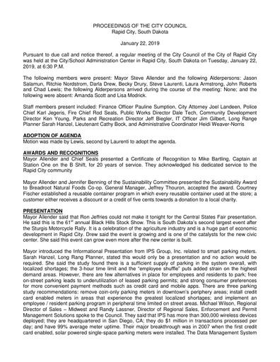 2019 01 22 City Council Minutes