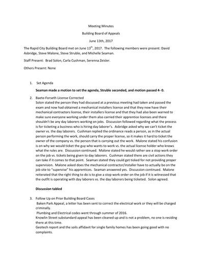 June 13, 2017 Meeting Minutes