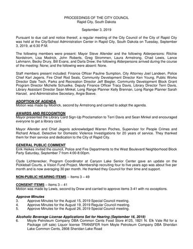2019 09 03 City Council Minutes