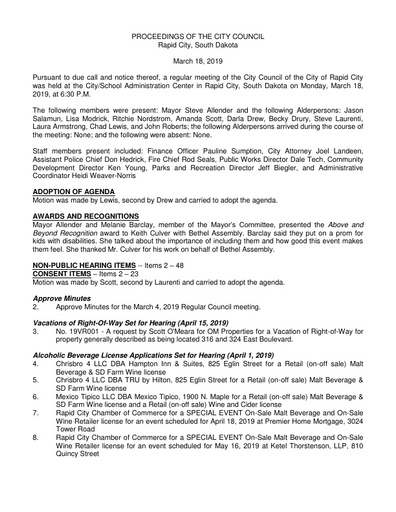2019 03 18 City Council Minutes