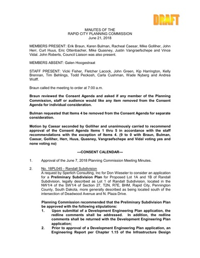 2018 06 21 Planning Commission Minutes