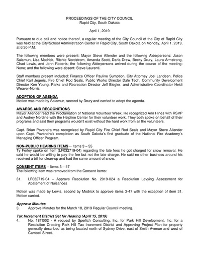 2019 04 01 City Council Minutes