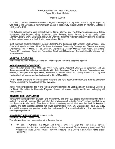 2019 10 07 City Council Minutes