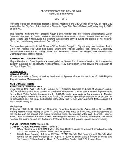 2019 07 01 City Council Minutes