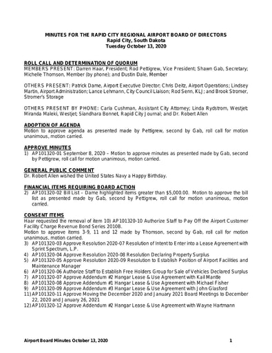 20201013 Airport Board Minutes