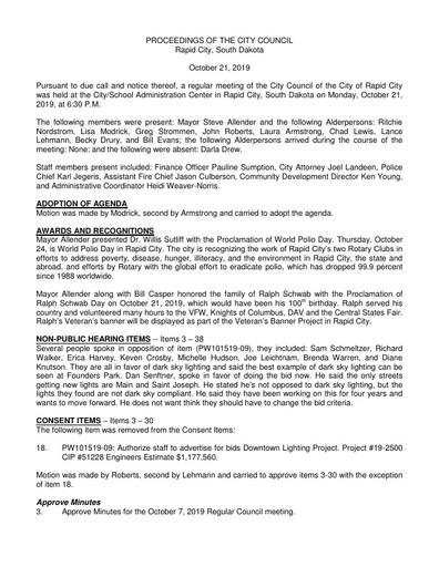 2019 10 21 City Council Minutes
