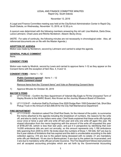 11/13/2019 Legal and Finance Committee Minutes