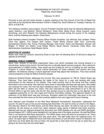 2019 02 19 City Council Minutes