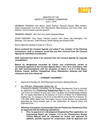 2018 06 07 Planning Commission Minutes
