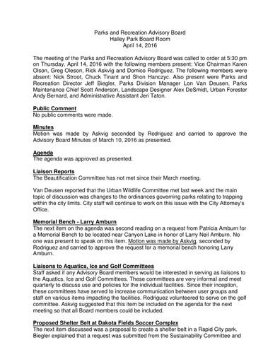 Parks & Rec Advisory Board April 14 Minutes