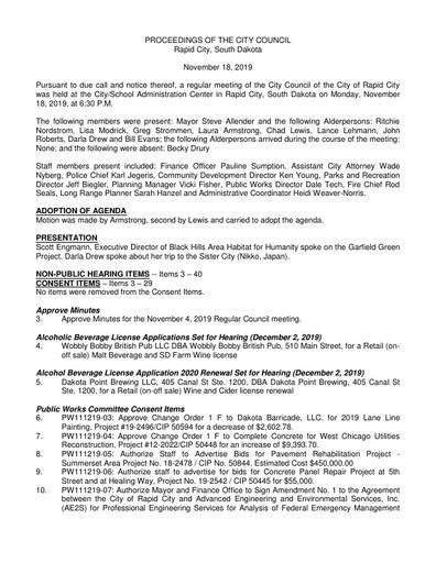 2019 11 18 City Council Minutes