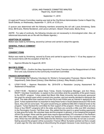 9/11/2019 Legal and Finance Committee Minutes