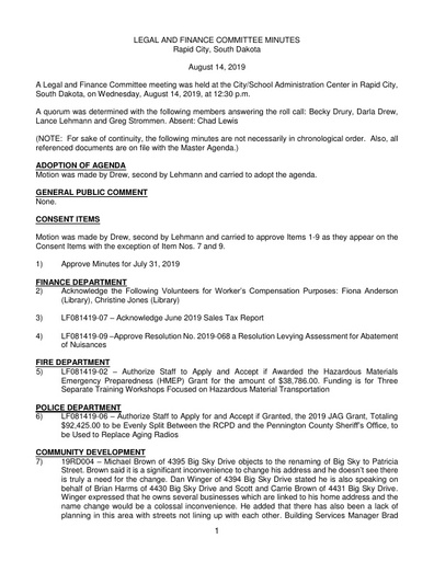 8/14/2019 Legal and Finance Committee Minutes
