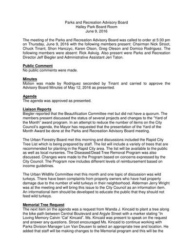 Parks & Rec Advisory Board June 9 Minutes