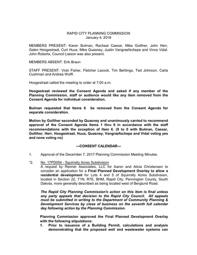 2018 01 04 Planning Commission Minutes