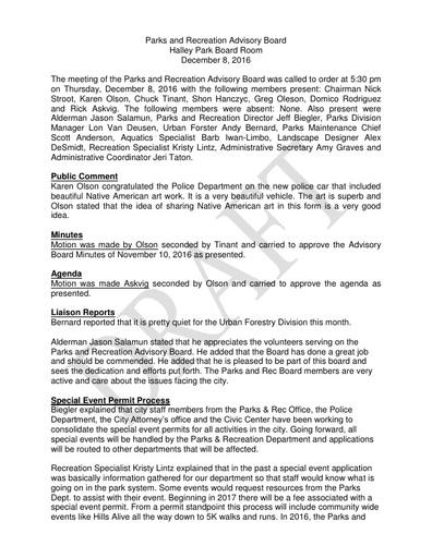 Parks & Rec Advisory Board Minutes Dec 8, 2016