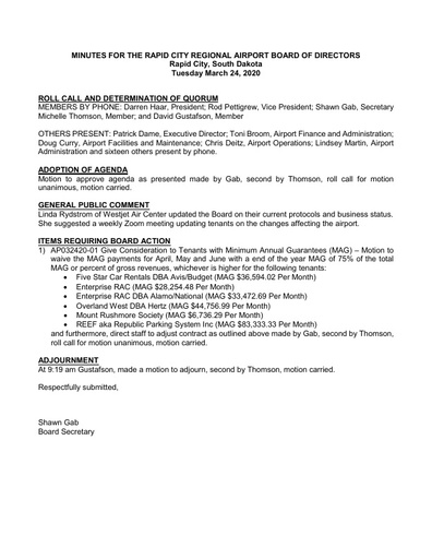 20200324 Airport Board Minutes
