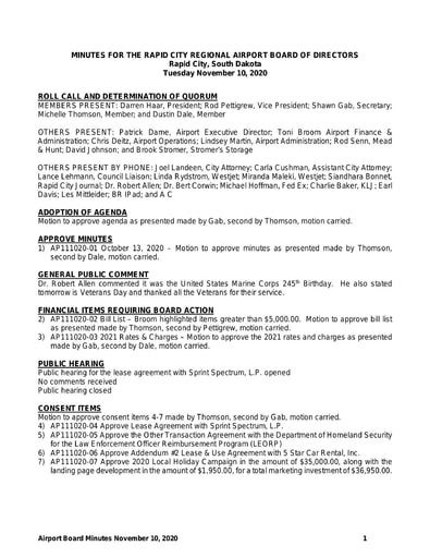 20201110 Airport Board Minutes