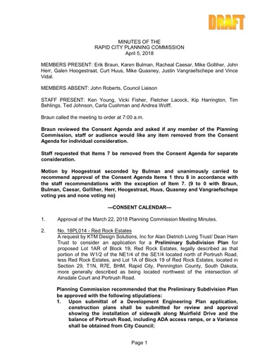 2018 04 05 Planning Commission Minutes