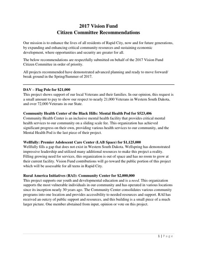 Summary of Recommendation