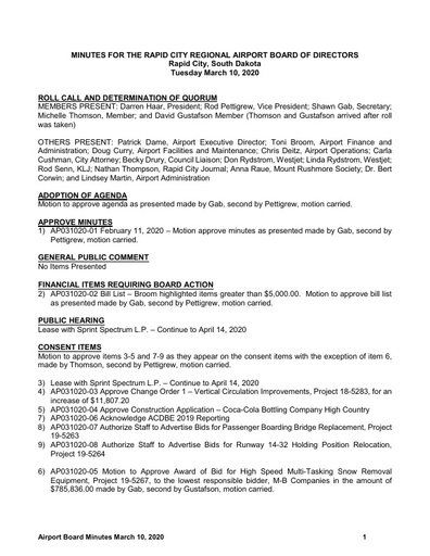 20200310 Airport Board Minutes