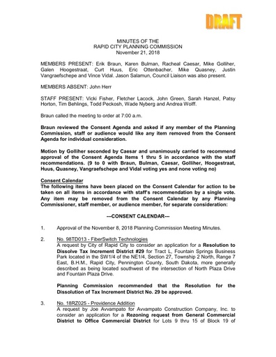 2018 11 21 Planning Commission Minutes