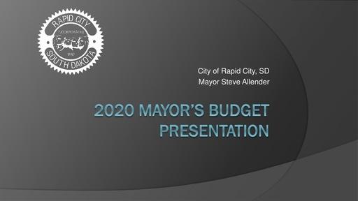Mayor's 2020 Budget Presentation