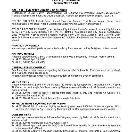 20200512 Airport Board Minutes