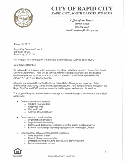 20170105 to City Council re Authorization for RCFD Comprehensive Analysis