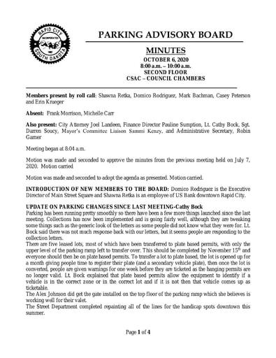 2020, 10/06 Parking Advisory Board Minutes