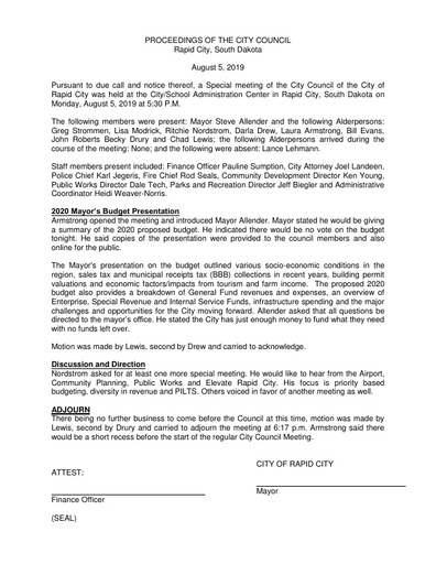 2019 08 05 Special Council Minutes