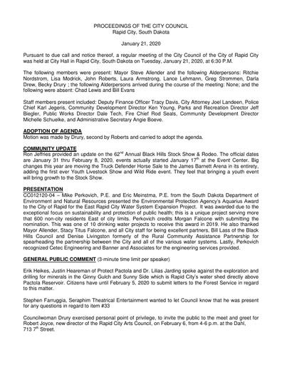 2020 01 21 City Council Minutes