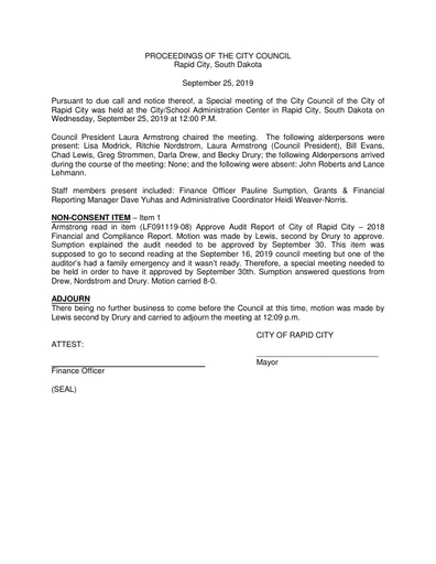 2019 09 25 Special Council Meeting Minutes