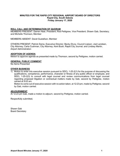 20200117 Airport Board Minutes