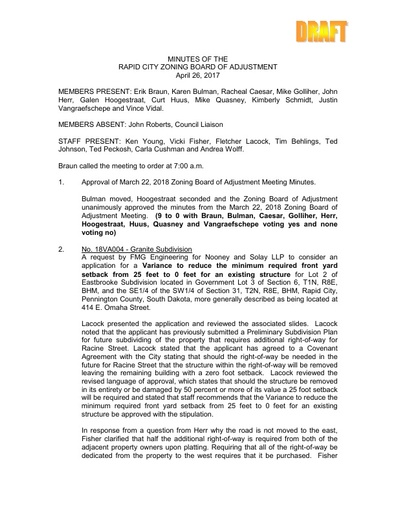 2018 04 26 ZBOA and Planning Commission Minutes