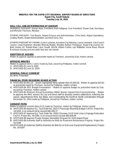 20200714 Airport Board Minutes
