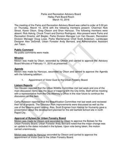 2016 03 10 Parks and Recreation Advisory Board Minutes