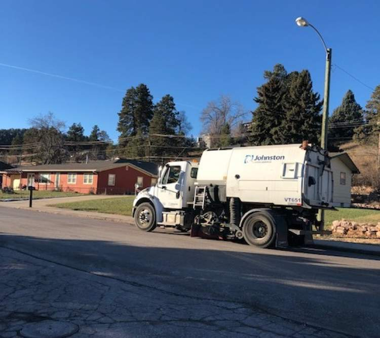 One of the City's 10 sweepers in action in west Rapid City.